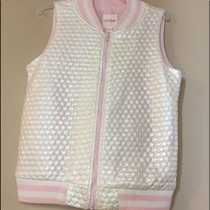 Girls pink and white vest